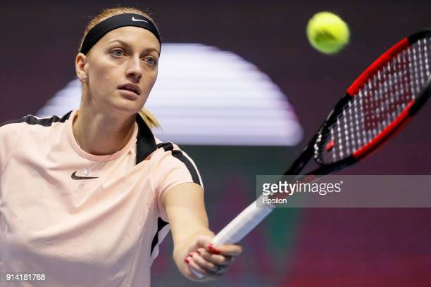 Petra Kvitova of Czech Republic returns the ball to Kristina Mladenovic of France during their St Petersburg Ladies Trophy 2018 final tennis match on...