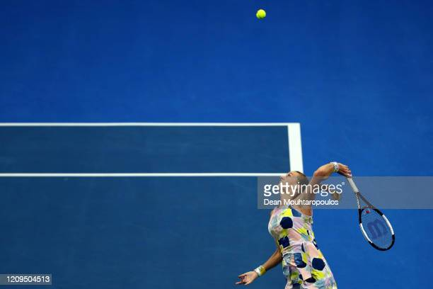 Petra Kvitova of Czech Republic serves against Aryna Sabalenka of Belarus in their Singles Final match on Day 7 of the WTA Qatar Total Open 2020 at...