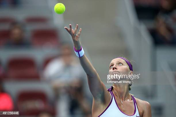 Petra Kvitova of Czech Republic serves against Sara Errani of Italy during the day two of the 2015 China Open at the China National Tennis Centre on...