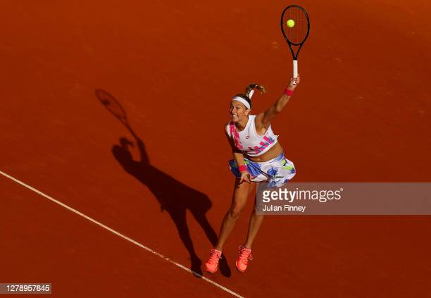 Petra Kvitova of Czech Republic serves during her Women's Singles quarterfinals match against Laura Siegemund of Germany on day eleven of the 2020...