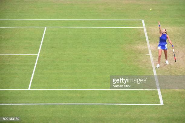 Petra Kvitova of Czech Republic serves during the quarter final match against Kristina Mladenovic of France on day five of The Aegon Classic...