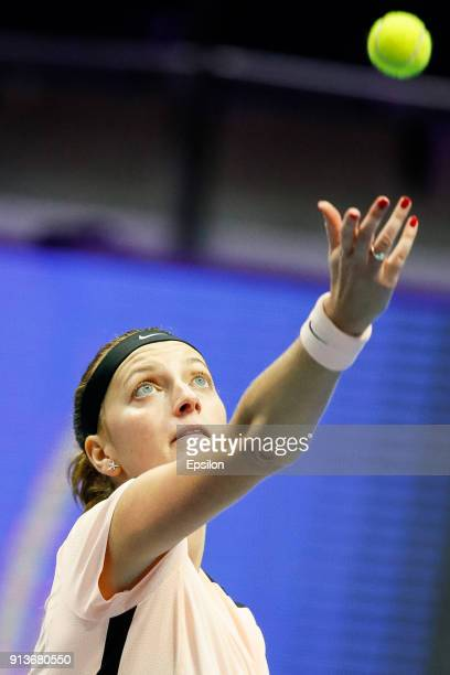 Petra Kvitova of Czech Republic serves the ball during her St Petersburg Ladies Trophy 2018 semifinal tennis match against Julia Goerges of Germany...