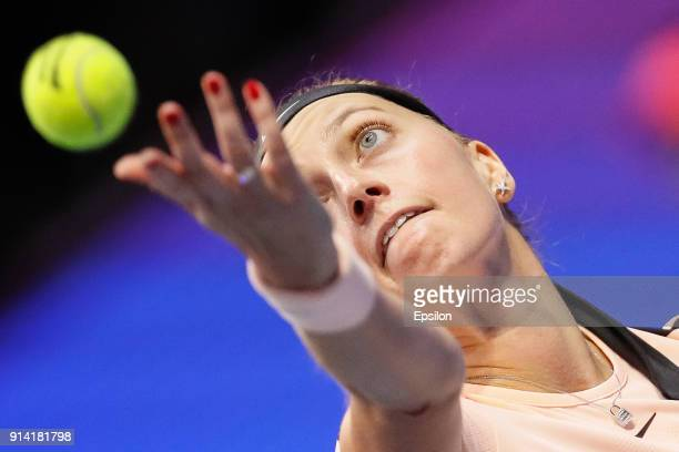 Petra Kvitova of Czech Republic serves the ball during her St Petersburg Ladies Trophy 2018 final tennis match against Kristina Mladenovic of France...