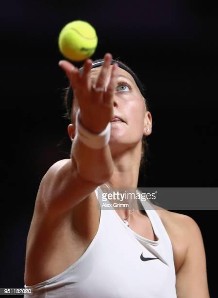 Petra Kvitova of Czech Republic serves the ball to Angelique Kerber of Germany during day 3 of the Porsche Tennis Grand Prix at PorscheArena on April...