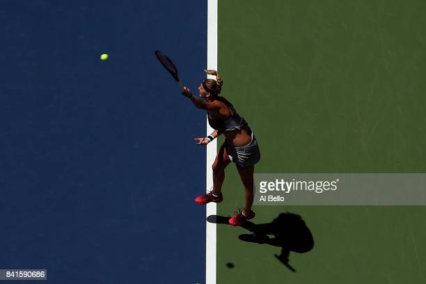 Petra Kvitova of Czech Republic serves to Caroline Garcia of France during their third round match on Day Five of the 2017 US Open at the USTA Billie...