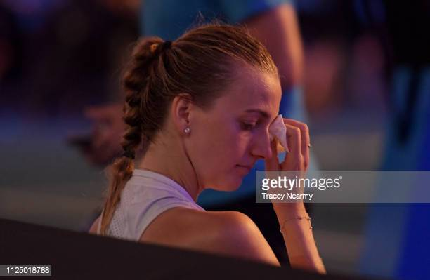 Petra Kvitova of Czech Republic shows emotion following her loss to Naomi Osaka of Japan in the Women's Singles Final match during day 13 of the 2019...