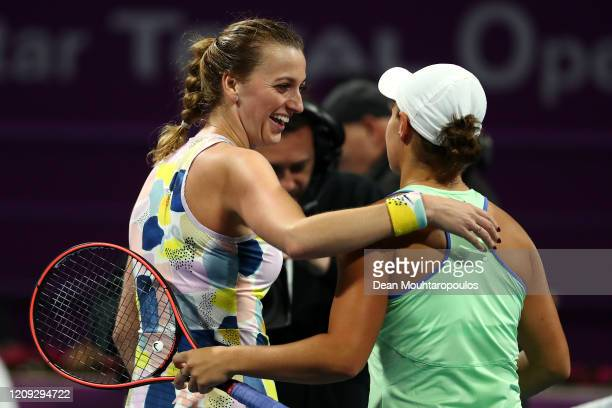 Petra Kvitova of Czech Republic smiles after winning match point against Ashleigh Barty of Australia during Day 6 of the WTA Qatar Total Open 2020 at...