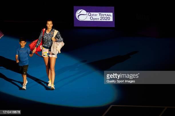 Petra Kvitova of Czech Republic walks onto the court againist Aryna Sabalenka of Belarus in the singles final match on day seven of the WTA Qatar...