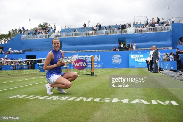Petra Kvitova of Czech Republic wins the Maud Watson trophy after beating Ashleigh Barty of Australia on day seven of The Aegon Classic Birmingham at...
