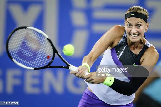 Petra Kvitova of Czech returns a shot during the match against Dayana Yastremska of Ukraine on Day 5 of 2019 Dongfeng Motor Wuhan Open at Optics...