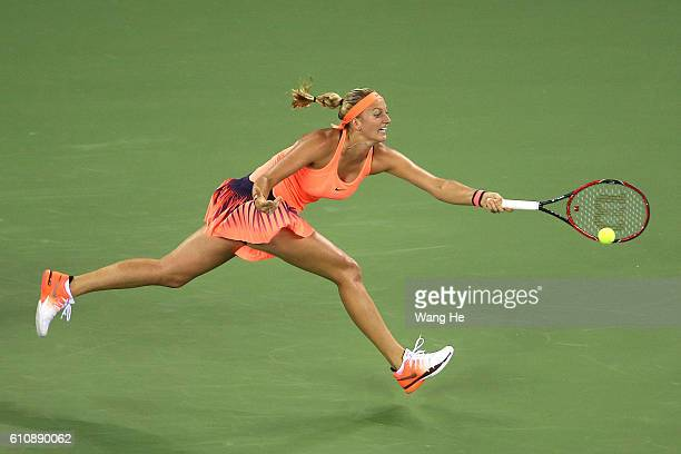 Petra Kvitova of Czech returns a shot during the match against Angelique Kerber of Germany on Day 4 of 2016 Dongfeng Motor Wuhan Open at Optics...