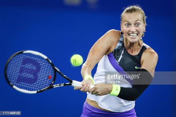 Petra Kvitova of Czech returns a shot during the Singles Semifinal match against Alison Riske of the United States on Day 6 of 2019 Dongfeng Motor...