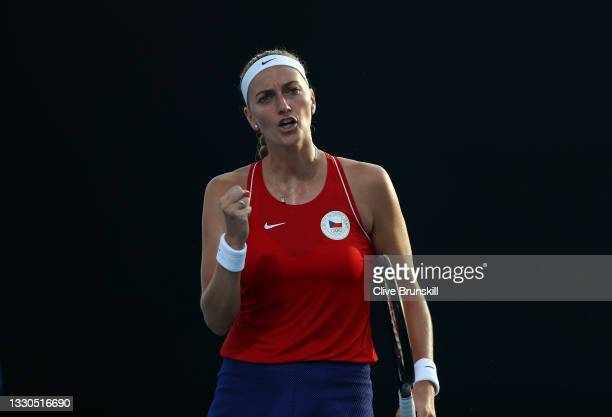 Petra Kvitova of Team Czech Republic celebrates after a point during her Women's Singles First Round match against Jasmine Paolini of Team Italy on...