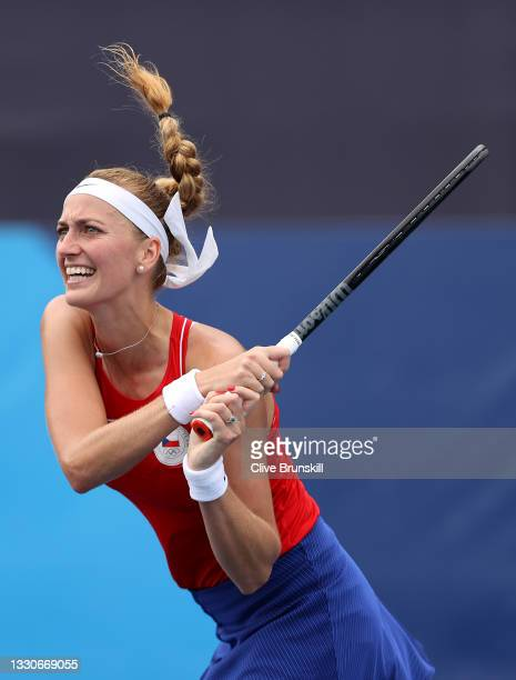 Petra Kvitova of Team Czech Republic plays a backhand during her Women's Singles Second Round match against Alison Van Uytvanck of Team Belarus on...