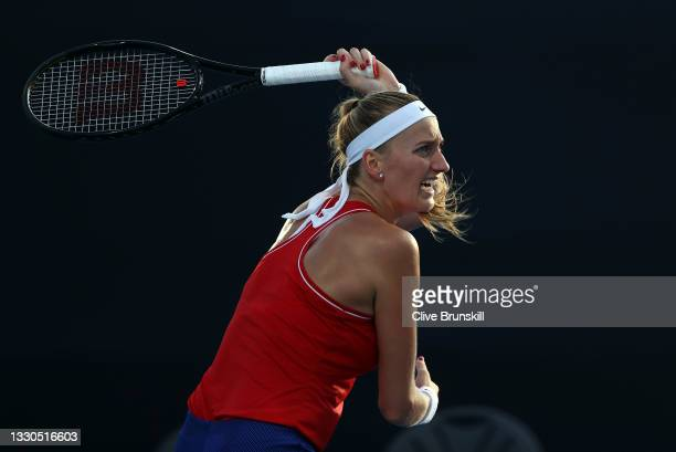 Petra Kvitova of Team Czech Republic plays a forehand during her Women's Singles First Round match against Jasmine Paolini of Team Italy on day two...