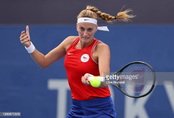 Petra Kvitova of Team Czech Republic plays a forehand during her Women's Singles Second Round match against Alison Van Uytvanck of Team Belarus on...