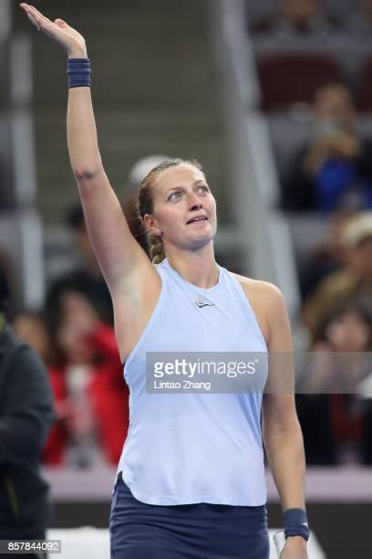 Petra Kvitova of the Czech Repubic celebrates after winning the Women's singles thrid round match against Caroline Wozniacki of Denmark Caroline...