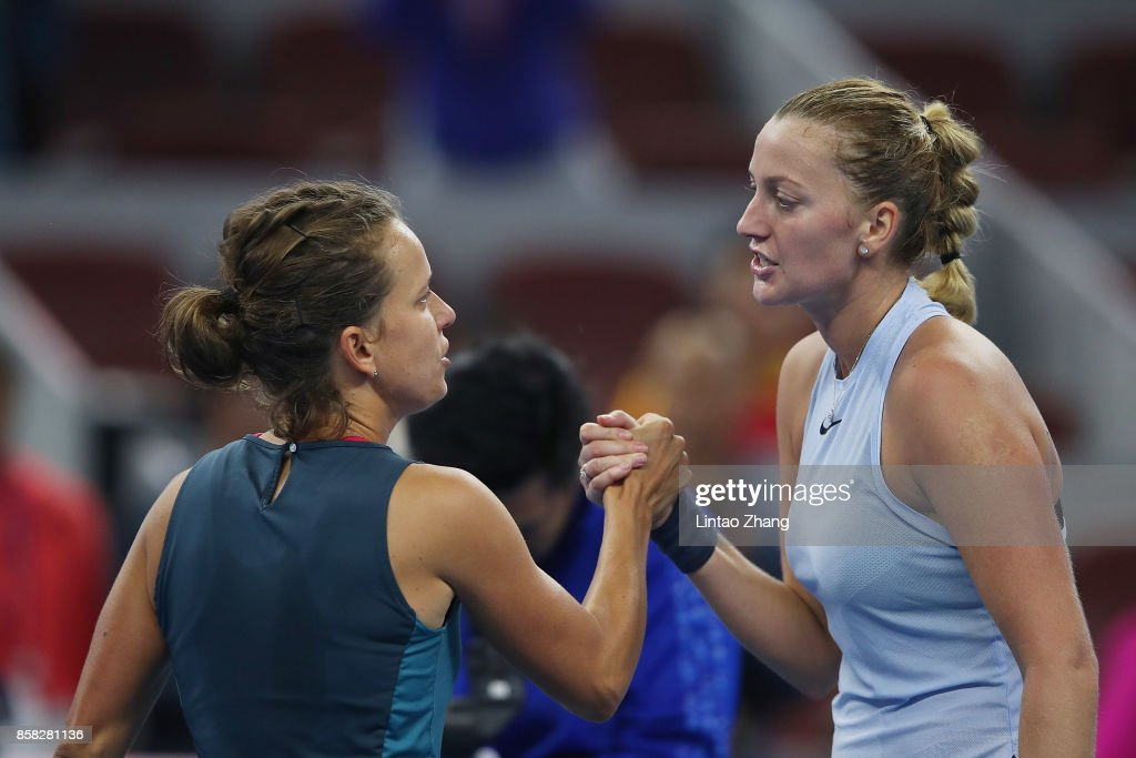 Petra Kvitova of the Czech Repubic is congratulated by Barbora Strycova of the Czech Republic after winning the Women's singles Quarterfinals match on day seven of 2017 China Open at the China National Tennis Centre on October 6, 2017 in Beijing, China.