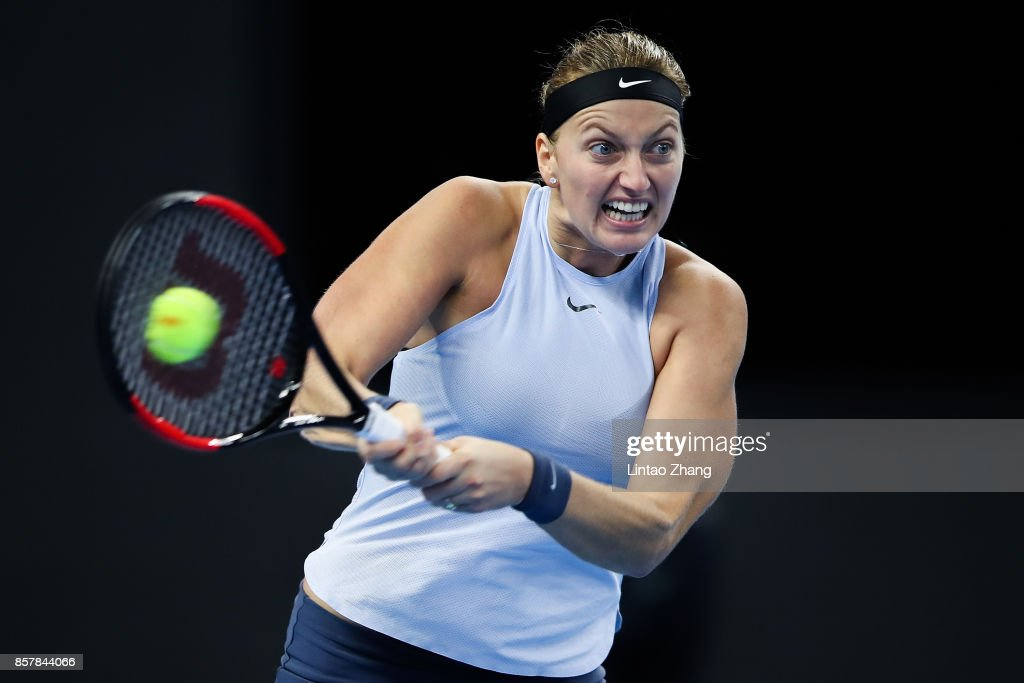 Petra Kvitova of the Czech Repubic returns a shot during the Women's singles third round match against Caroline Wozniacki of Denmark Caroline Wozniacki of Denmark on day six at the China National Tennis Centre on October 5, 2017 in Beijing, China.