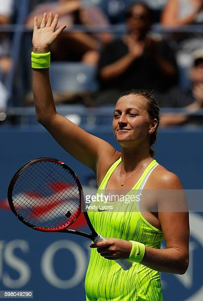 Petra Kvitova of the Czech Republic acknowledges the crowd after defeating Cagla Buyukakcay of Turkey during her second round Women's Singles match...
