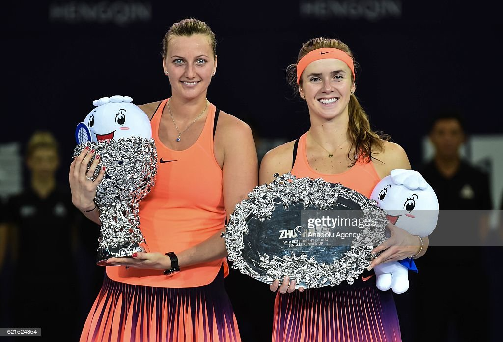 Petra Kvitova (L) of the Czech Republic and Elina Svitolina (R) of Ukraine pose after the women's singles final match during the 2016 WTA Elite Trophy Zhuhai at Zhuhai Hengqin International Tennis Centre in Zhuhai, China on November 6, 2016.