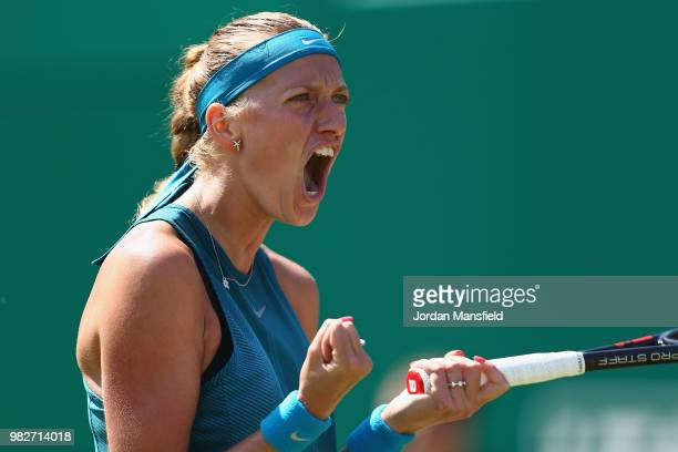 Petra Kvitova of the Czech Republic celebrates a point during her singles Final match against Magdalena Rybarikova of Slovakia during day nine of the...