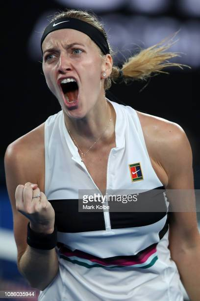 Petra Kvitova of the Czech Republic celebrates a point in her quarter final match against Ashleigh Barty of Australia during day nine of the 2019...