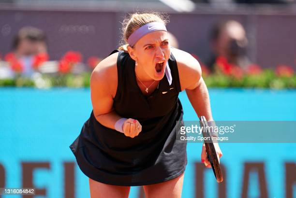Petra Kvitova of the Czech Republic celebrates a point in her round of 16 match against Veronika Kudermetova of Russia on day five of the Mutua...