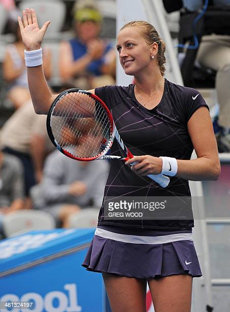 Petra Kvitova of the Czech Republic celebrates after defeating compatriot Lucie Safarova in their singles match at the APIA Sydney International...