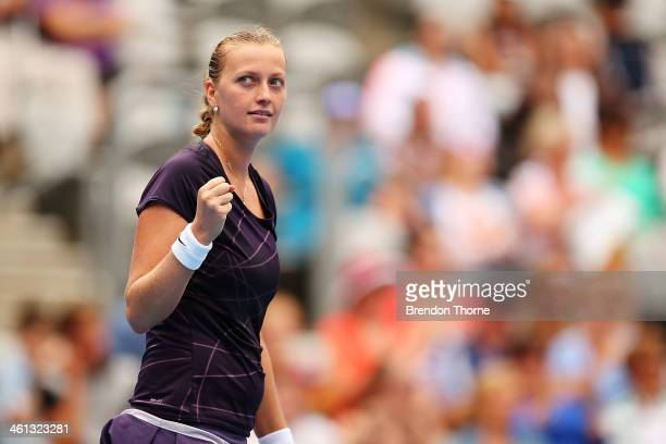 Petra Kvitova of the Czech Republic celebrates after victory in her quarter final match against Lucie Safarova of the Czech Republic during day four...