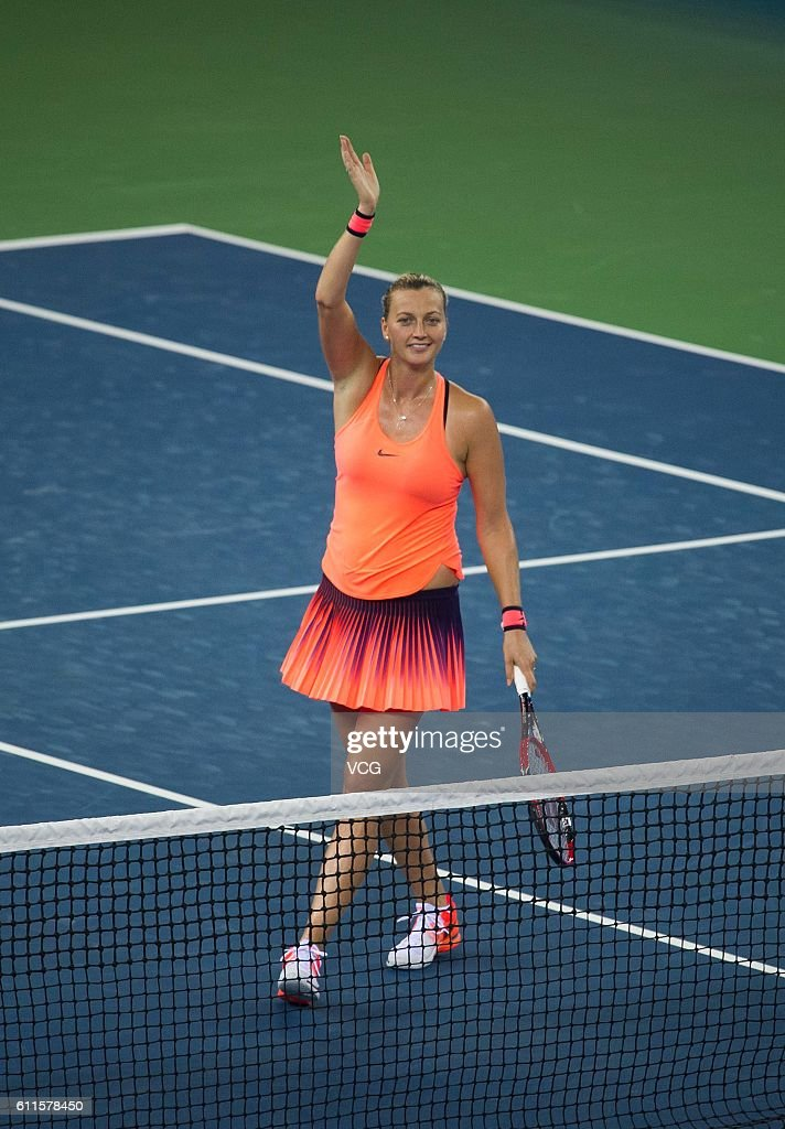Petra Kvitova of the Czech Republic celebrates after winning the women's singles semi-final match against Simona Halep of Romania on day six of the 2016 WTA Dongfeng Motor Wuhan Open at Optics Valley International Tennis Center on September 30, 2016 in Wuhan, China.