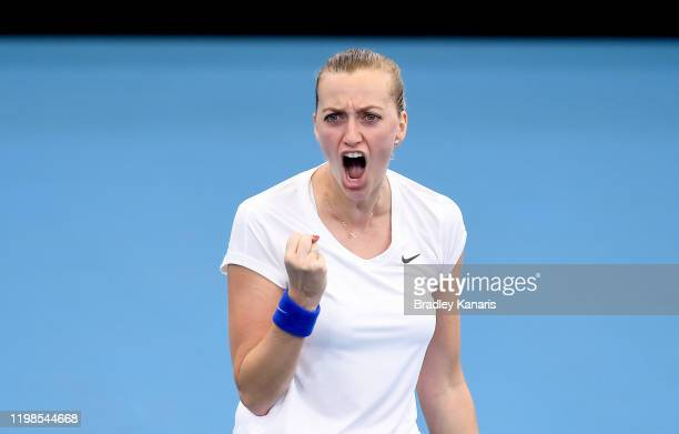 Petra Kvitova of The Czech Republic celebrates after winning the first set in her match against Jennifer Brady of the USA during day five of the 2020...