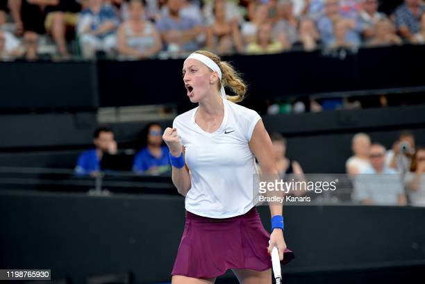 Petra Kvitova of The Czech Republic celebrates after winning the first set in her semi final match against Madison Keys of the USA during day six of...