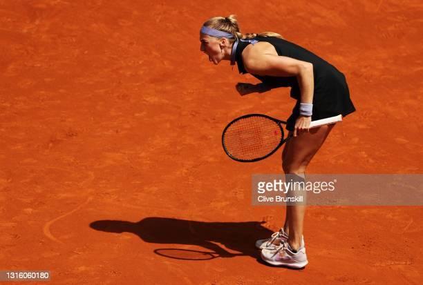 Petra Kvitova of the Czech Republic celebrates during her match against Veronika Kudermetova of Russia at La Caja Magica on May 03, 2021 in Madrid,...