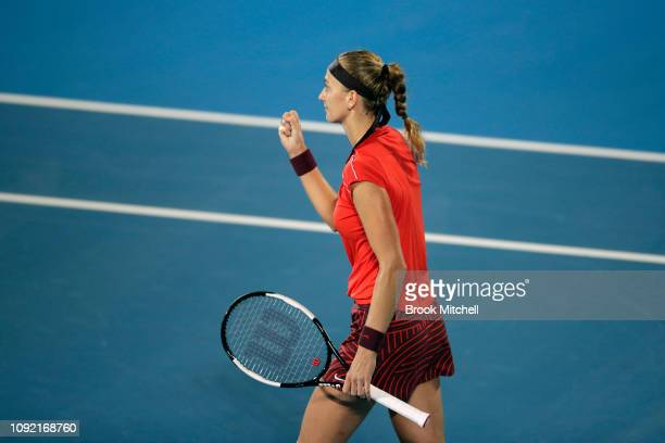 Petra Kvitova of the Czech Republic celebrates her win over Angelique Kerber of Germany during day five of the 2019 Sydney International at the...
