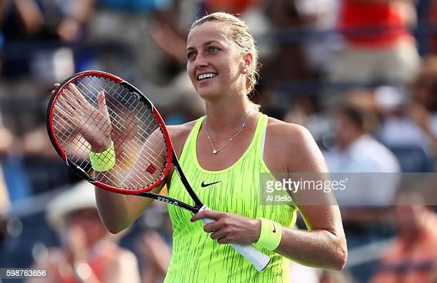 Petra Kvitova of the Czech Republic celebrates her win over Elina Svitolina of the Ukraine during her third round Women's Singles match on Day Five...
