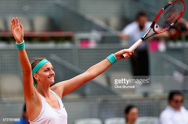 Petra Kvitova of the Czech Republic celebrates match point after her straight sets victory against Svetlana Kuznetsova of Russia in the womens final...