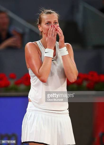 Petra Kvitova of the Czech Republic celebrates match point after her three set victroy against Kiki Bertens of the Netherlands in the womens final...