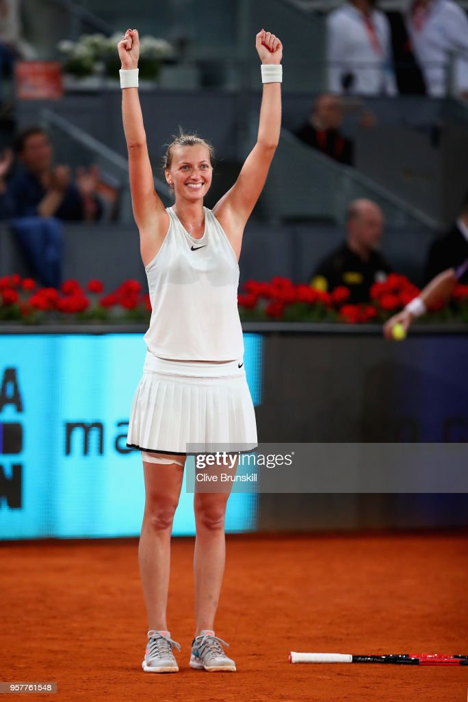 Petra Kvitova of the Czech Republic celebrates match point after her three set victroy against Kiki Bertens of the Netherlands in the womens final during day eight of the Mutua Madrid Open tennis tournament at the Caja Magica on May 12, 2018 in Madrid, Spain.