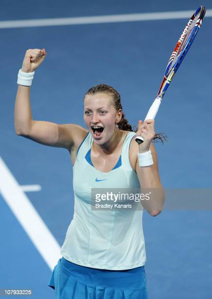Petra Kvitova of the Czech Republic celebrates victory after her finals match against Andrea Petkovic of Germany during day seven of the Brisbane...