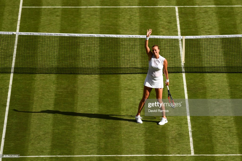 Petra Kvitova of The Czech Republic celebrates victory after the Ladies Singles first round match on day one of the Wimbledon Lawn Tennis Championships at the All England Lawn Tennis and Croquet Club on July 3, 2017 in London, England.