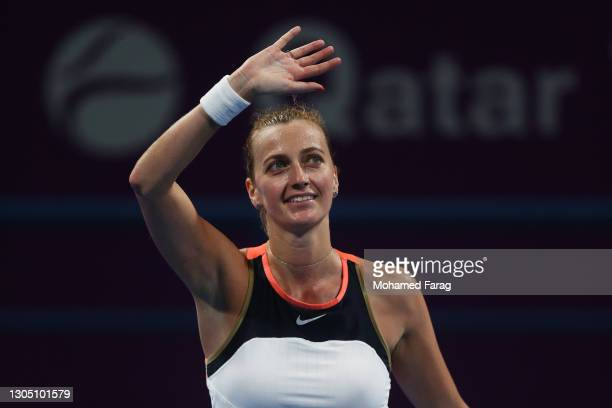 Petra Kvitova of The Czech Republic celebrates victory after winning her Round of 16 singles match against Anastasia Pavlyuchenkova of Russia during...