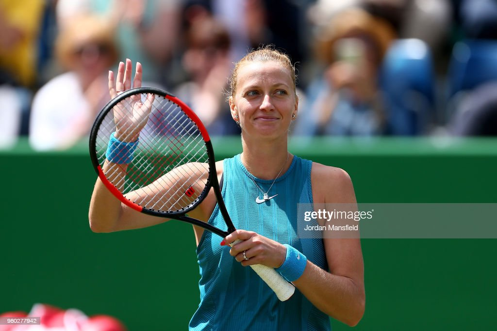 Petra Kvitova of the Czech Republic celebrates victory during her Round of 16 match against Daria Gavrilova of Australia during Day Six of the Nature Valley Classic at Edgbaston Priory Club on June 21, 2018 in Birmingham, United Kingdom.