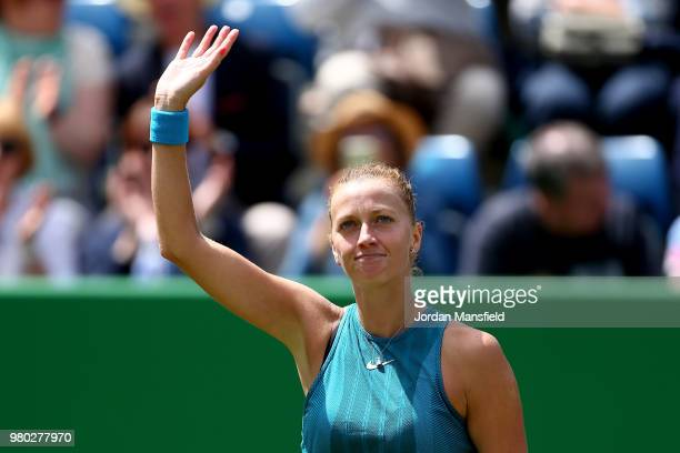Petra Kvitova of the Czech Republic celebrates victory during her Round of 16 match against Daria Gavrilova of Australia during Day Six of the Nature...