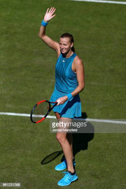 Petra Kvitova of the Czech Republic celebrates victory in her quarterfinal match against Julia Goerges of Germany during Day Seven of the Nature...
