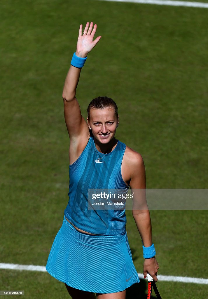 Petra Kvitova of the Czech Republic celebrates victory in her quarter-final match against Julia Goerges of Germany during Day Seven of the Nature Valley Classic at Edgbaston Priory Club on June 22, 2018 in Birmingham, United Kingdom.