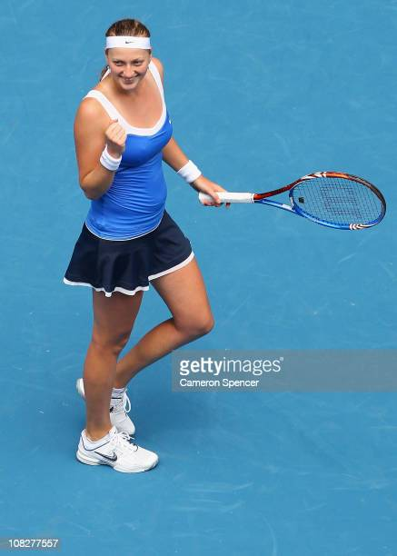 Petra Kvitova of the Czech Republic celebrates winning in her fourth round match against Flavia Pennetta of Italyduring day eight of the 2011...