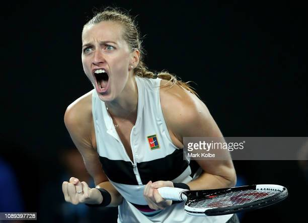 Petra Kvitova of the Czech Republic celebrates winning the second set in her Women's Singles Final match against Naomi Osaka of Japan during day 13...