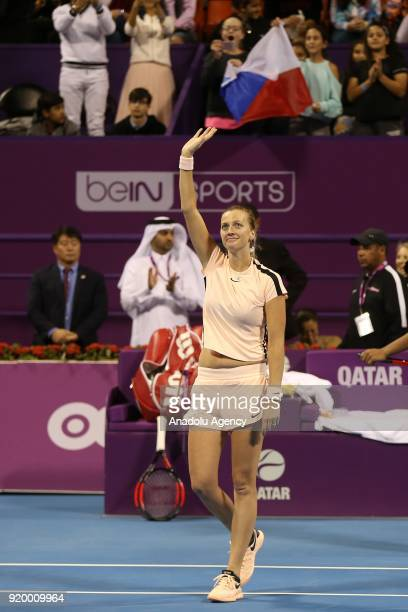 Petra Kvitova of the Czech Republic gestures after defeating Garbine Muguruza of Spain during the final match of the women's singles at the Qatar...