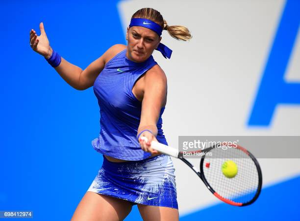 Petra Kvitova of The Czech Republic hits a forehand during her first round match against Tereza Smitkova of The Czech Republic on day two of The...
